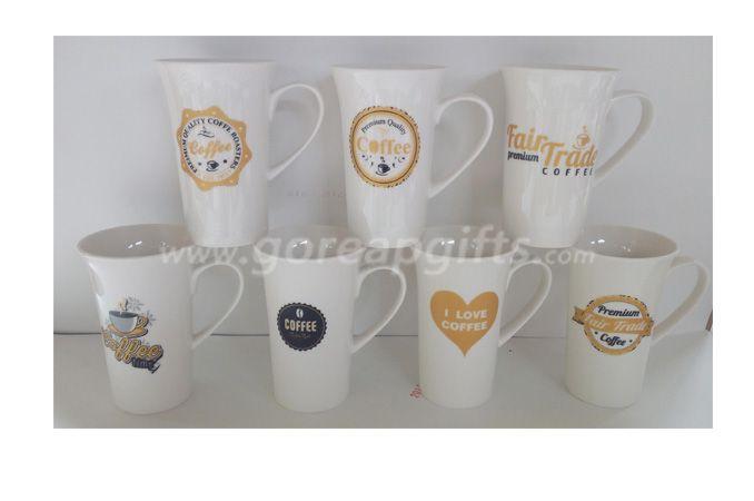 16OZ white glazed ceramic coffee mug with customized design