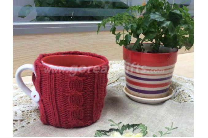 New Fashion Customize Knit Crochet Mug Cozy