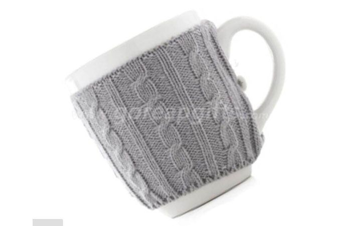 Fctory produce customized cheap Ceramic coffee mug with knitted sleeve cover