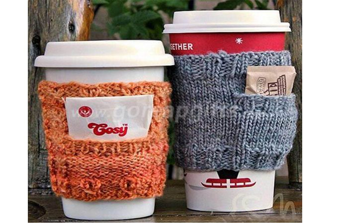 Novelty Tea Crochet Tea Cup Knitting Double Insulated Ceramic Knitted Coffee Mug without Handle