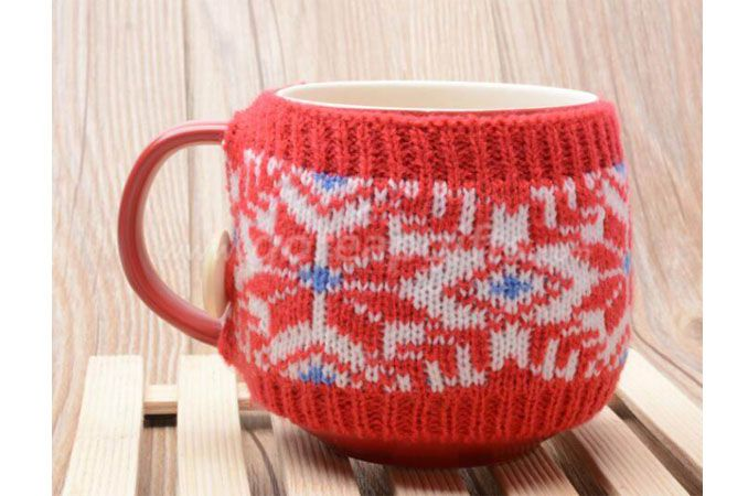 Winter Christmas Holiday Cozy Knitted Tea and Coffee 14 Oz Santa Sweater Gift Ceramic Mug