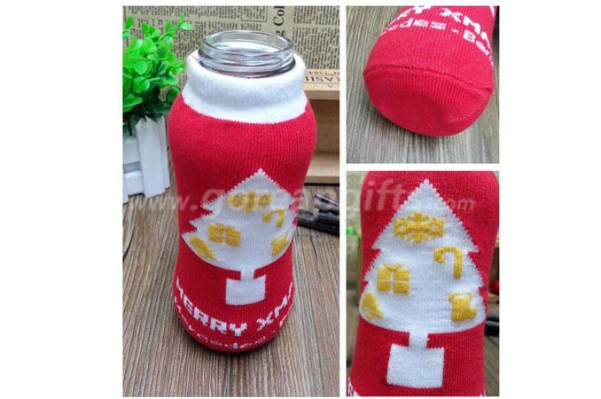 Glass water bottle with knitted sleeve