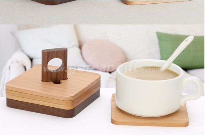 Bamboo Coffee Mug coaster Wooden cup Coaster with holder