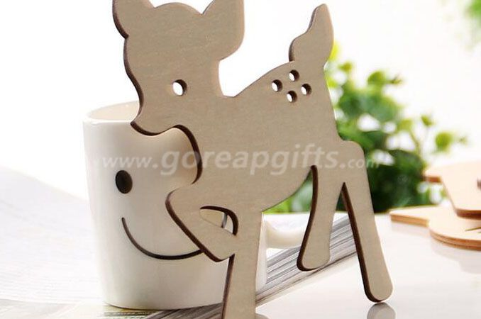 Deer shape Wooden Ceramic Cork Mug   Coasters