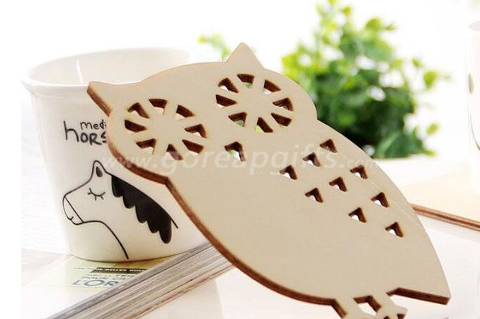 Owl  shape Wooden Ceramic Cork Mug Coasters