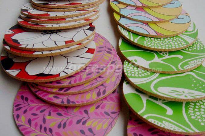 Custom Printed Heat-resistant Blank Wooden Ceramic Cork Mug   Coasters