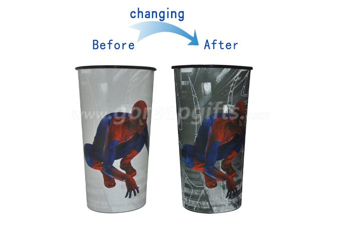 Spiderman magic plastic bevarage water beer cold color changing cup for sale