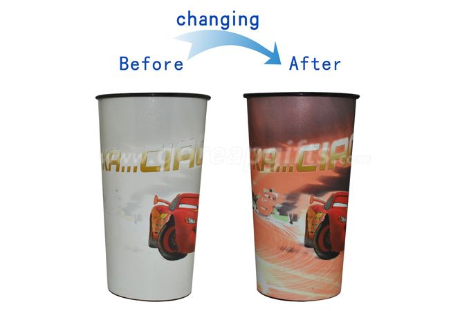 Plastic cup printing/change color plastic cup/250ml disposable plastic cup