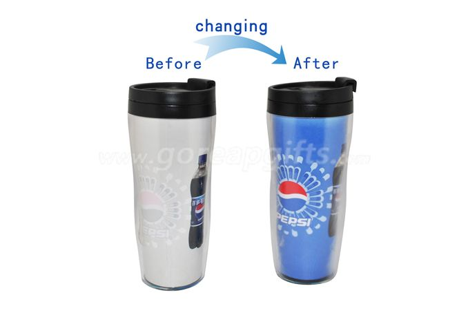 350ml BPA Free pepsi  double wall cold color changing plastic water bottles