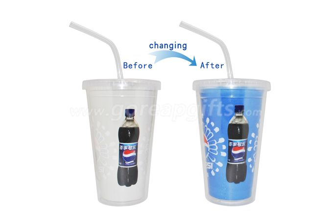Double wall personalized cold  color changing plastic tumbler with lid and straw