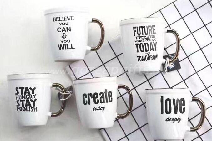 Metallic handle ceramic coffee mugs with customzied design