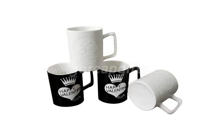 12OZ embossed ceramic mug with customized design