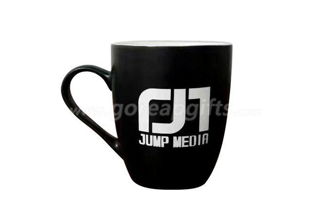 12OZ embossed ceramic coffee  mug with customized design