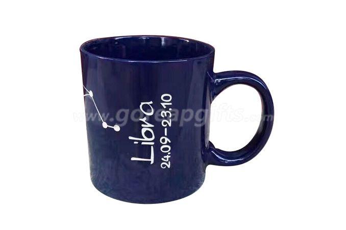 12OZ embossed black glazed ceramic mug with customized design