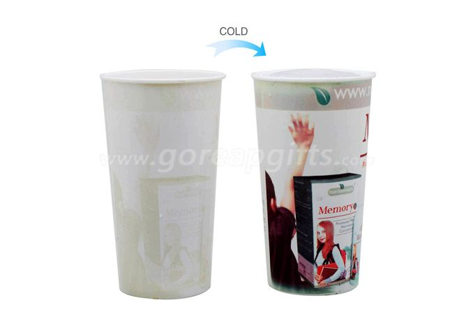 Temperature sensor color changing plastic cup with custom logo