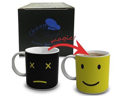 Magic Morning Coffee Mug, Yellow 12 Oz Heat Sensitive Color and Face Changing Ceramic Tea Cup, by GOREAP